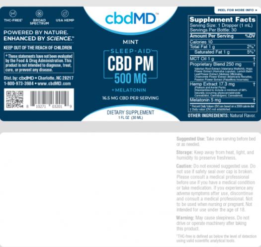 cbdMD PM Sleep Mint Label